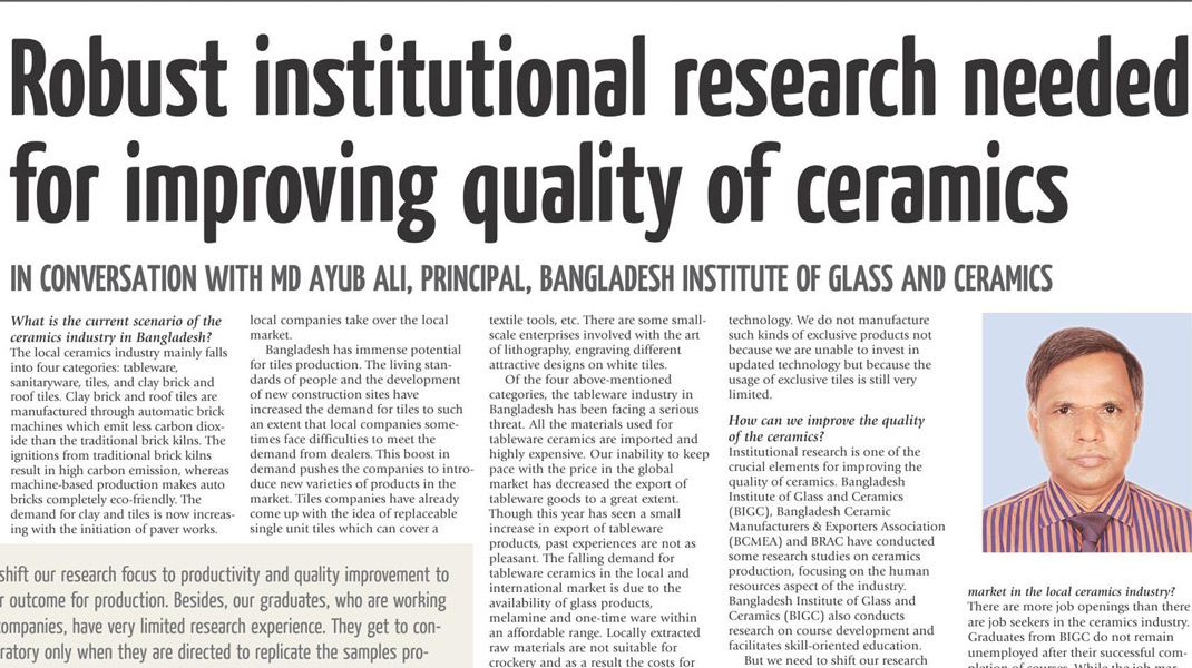 Robust institutional reseach needed for improving quality of ceramics